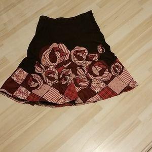 Anthropologie Fei  Corduroy Rosr applique skirt